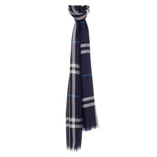 Burberry Navy Check Wool and Silk Scarf