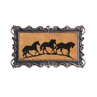 'Running Horses' Rubber and Coir Tray Doormat