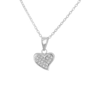 Sterling Essentials Silver Cubic Zirconia Heart Pendant Necklace