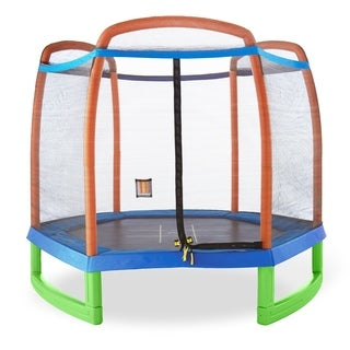 Pure Fun 7-foot Kids Trampoline with Enclosure and Tic-Tac-Toe
