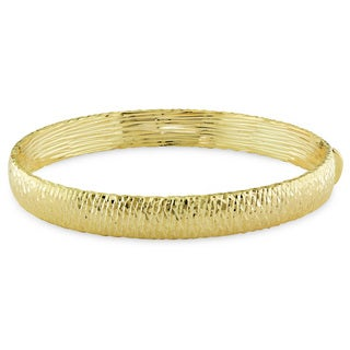 Miadora Signature Collection 14k Yellow Gold Diamond Cut Bangle Bracelet