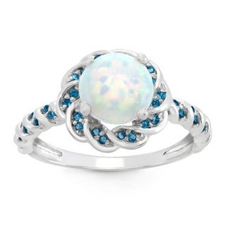 Gioelli Sterling Silver Created Opal and Blue Topaz Flower Shaped Ring