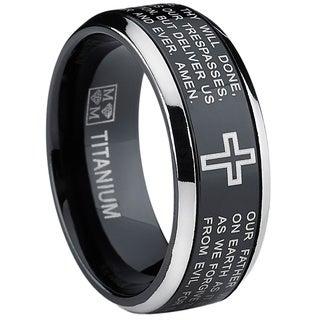 Oliveti Black Titanium Men's Lord's Prayer Spinner Ring