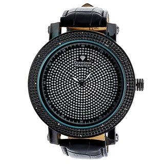 Diamond Master Men's Black Leather Quartz Watch