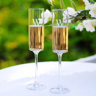 Personalized Contemporary Champagne Flutes