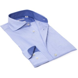 Isaac Mizrahi Men's Slim Fit Striped Long-sleeve Dress Shirt
