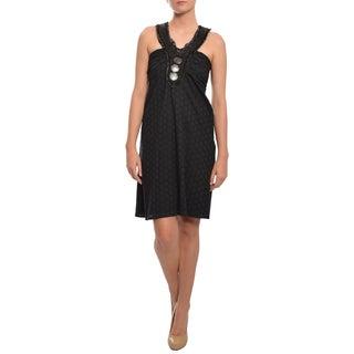 Prairie New York Women's Beaded Black Cotton Eyelet Cocktail Dress