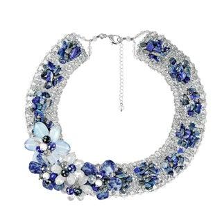 Floral Bouquet Blue Lapis Cluster Collar Statement Necklace (Thailand)