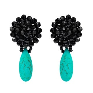 Black Chrysanthemum Crystal Turquoise Drop Clip On Earrings (Thailand)