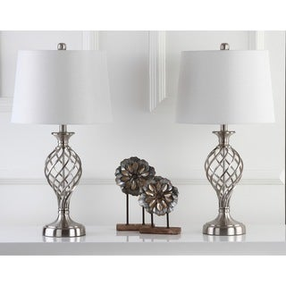 Safavieh Indoor 1-light Lattice Urn Nickel Table Lamp (Set of 2)