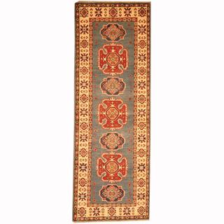 Herat Oriental Afghan Hand-knotted Tribal Kazak Blue/ Red Wool Rug (2'1 x 6')