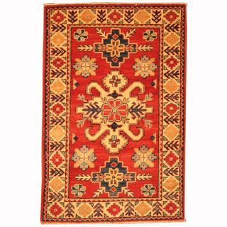 Herat Oriental Afghan Hand-knotted Tribal Kazak Red/ Navy Wool Rug (2'8 x 4')