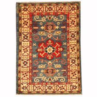 Herat Oriental Afghan Hand-knotted Tribal Kazak Blue/ Red Wool Rug (2'9 x 3'9)