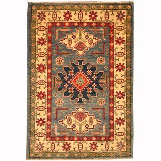 Herat Oriental Afghan Hand-knotted Tribal Kazak Blue/ Navy Wool Rug (2'10 x 4'2)