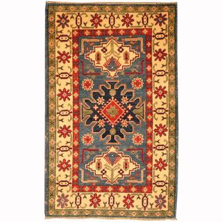 Herat Oriental Afghan Hand-knotted Tribal Kazak Blue/ Navy Wool Rug (2'8 x 4'4)
