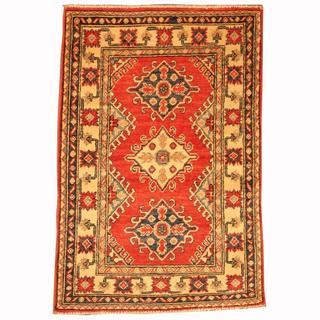 Herat Oriental Afghan Hand-knotted Tribal Kazak Red/ Navy Wool Rug (2'7 x 3'9)