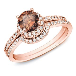 Auriya 14k Rose Gold 1ct TDW Brown Round Diamond Bridal Ring Set (SI1-SI2)