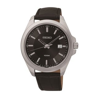 Seiko Men's SUR075 Stainless Steel and Black Leather Watch