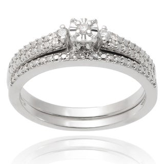 Tressa Collection Sterling Silver Diamond 1/10 TDW Wedding Ring Set (H-I, SI-SI2)