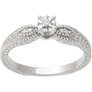 Tressa Collection Sterling Silver Vintage Diamond Engagement Ring (H-I, SI-SI2)