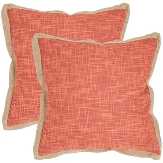 Safavieh Madeline Red 18-inch Square Throw Pillows (Set of 2)