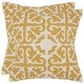 Safavieh Morrocan Mustard 22-inch Square Throw Pillows (Set of 2)
