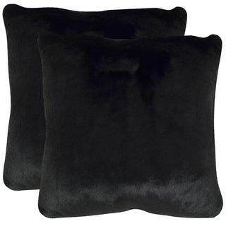 Safavieh Faux Black Mink Onyx 20-inch Square Throw Pillows (Set of 2)