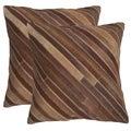 Safavieh Cherilyn Tan 18-inch Square Throw Pillows (Set of 2)