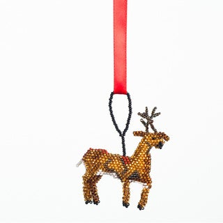 Hand-beaded Reindeer Christmas Ornament (Guatemala)