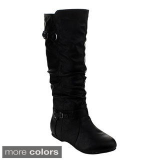 Top Moda Night-82 Women's Knee-high Buckle Slouched Boots