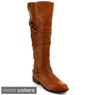 Top Moda Fay-42 Women's Over-the-Knee Buckle Riding Boots