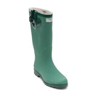 Women's Green Matte Design Rubber Rain Boots
