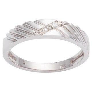 Bliss Men's 14k White Gold Diamond Wedding Band (H-I, I2-I3)