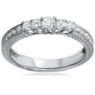Bliss 14k White Gold 1/2ct TDW Vintage Inspired Diamond Five Stone Anniversary Ring (H-I, I2-I3)