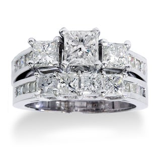 Bliss 14k White Gold 3.5ct TDW Princess Cut Bridal Ring Set (J-K, I1-I2)