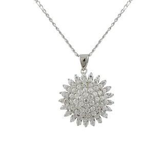 Luxiro Sterling Silver White CZ Starburst Necklace