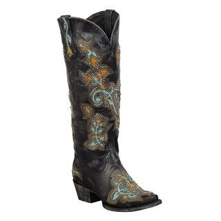 Lane Boots Women's 'Bliss' Black Leather Cowboy Boots