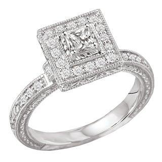 Avanti 14k White Gold 1/2 ct TDW Princess Halo Vintage Diamond Engagement Ring (G-H, SI1-SI2)