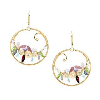 Michael Valitutti Sterling Silver Multi-gemstone Hoop Swirl Earrings