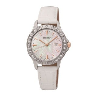 Seiko Women's SUR871 Stainless Steel and Swarovski Crystal Watch