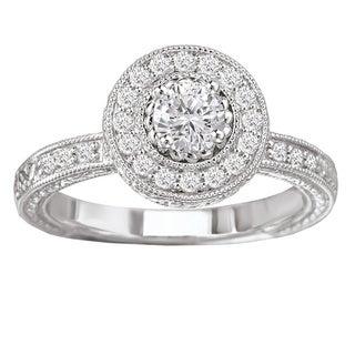 Avanti 14k White Gold 1/2ct TDW Vintage Round Halo White Diamond Engagement Ring with Filigree Detail (G-H,