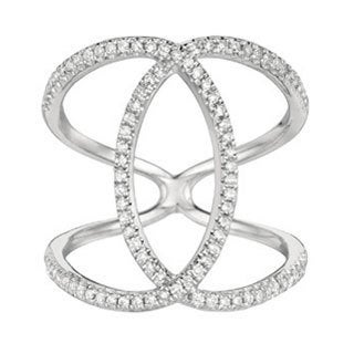 Sterling Silver 2/5ct White Diamond Double C Ring (G-H, I1)