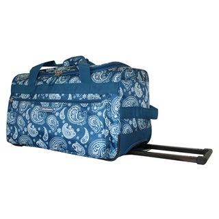 Dadamo 21-inch Blue Paisley 4-pocket Rolling Carry On Upright Duffel Bag