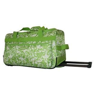 Dadamo 21-inch Lime Floral 4-pocket Rolling Carry On Upright Duffel Bag