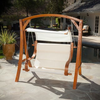 Christopher Knight Home Noah Outdoor Wooden Hanging Loveseat