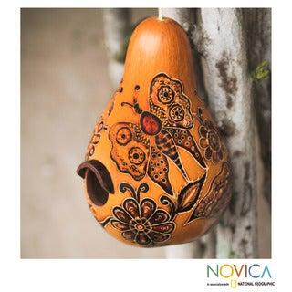 Handcrafted Mate Gourd 'Andean Butterflies' Birdhouse (Peru)