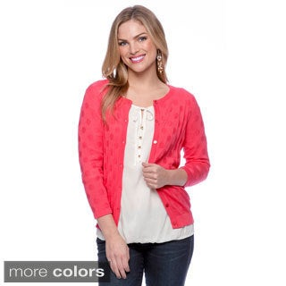 August Silk Button Front Cardigan with Polkadot Pattern