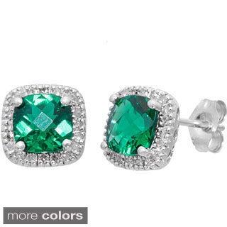 10k White Gold Cushion-cut Gemstone 1/6ct TDW White Diamond Earrings (H-I, I1)