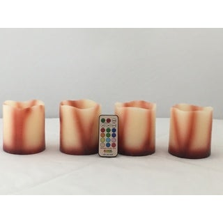 Contempo Lights Multi-color Pillar Flameless Vanilla Wax Candle (Set of 4)