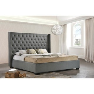 LuXeo Newport Wingback Tufted Contemporary Upholstered King-size Bed in Grey Fabric